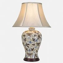 Vase Lamp in ivory with blue and silvery butterfly